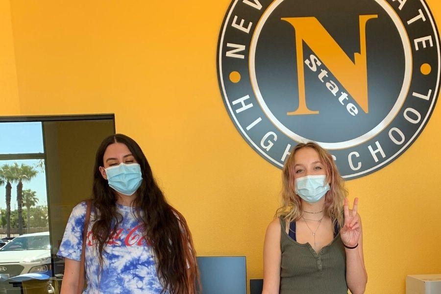 Two NSHS students wearing masks while at NSHS