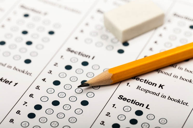 ACT exam with answers submitted pencil and eraser